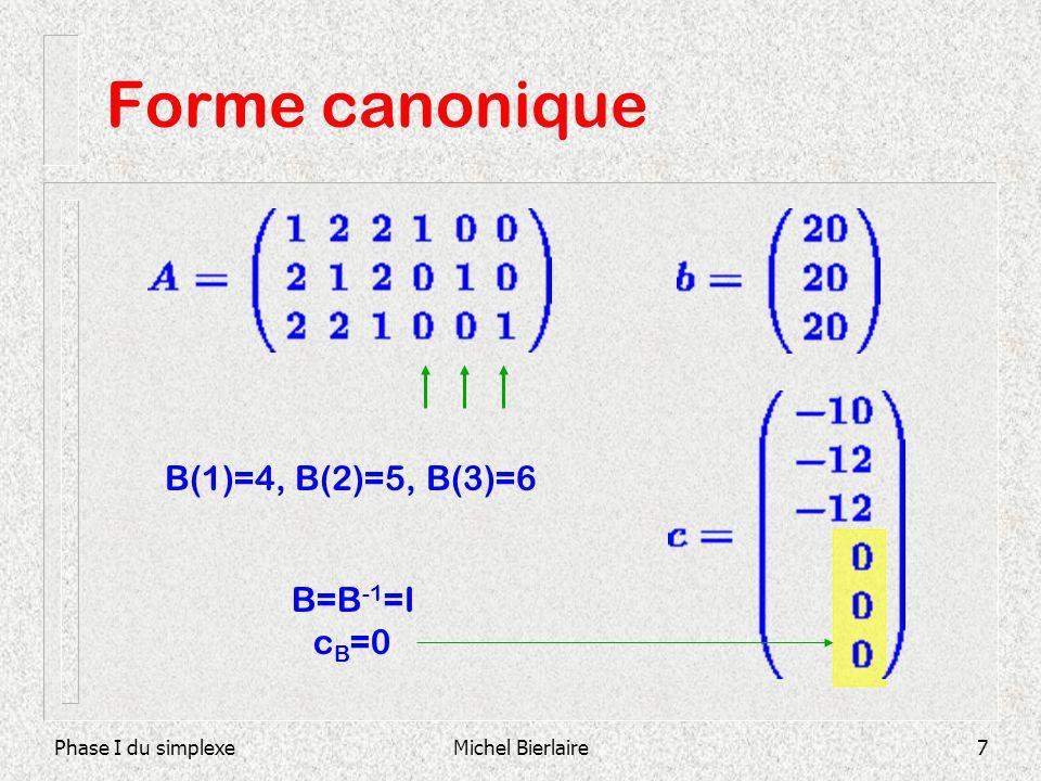 Forme canonique B(1)=4, B(2)=5, B(3)=6 B=B-1=I cB=0