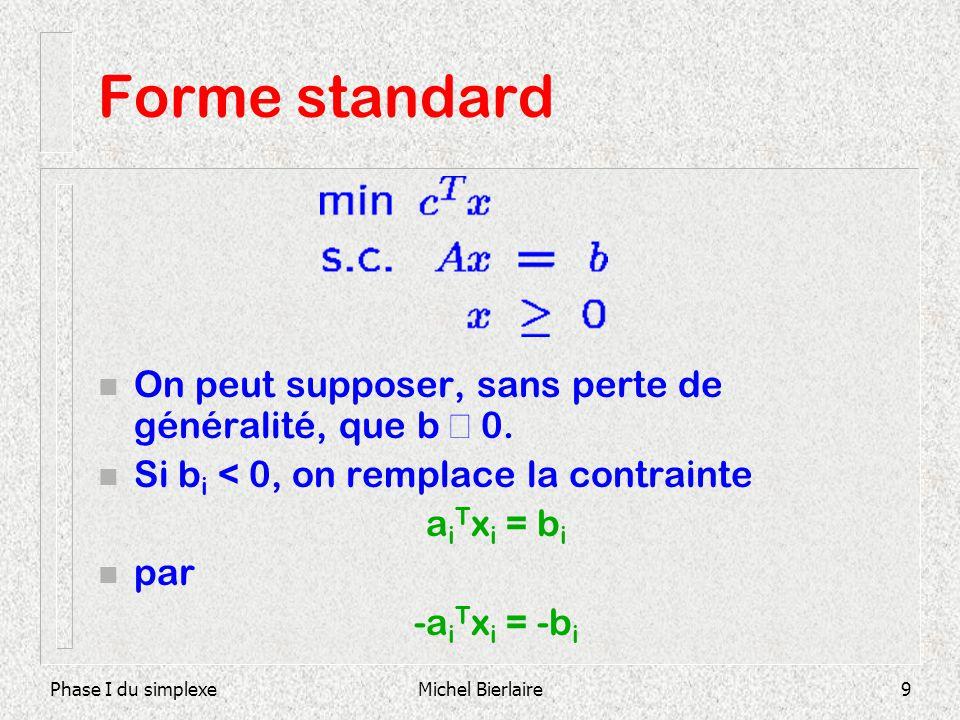 Forme standard On peut supposer, sans perte de généralité, que b ³ 0.