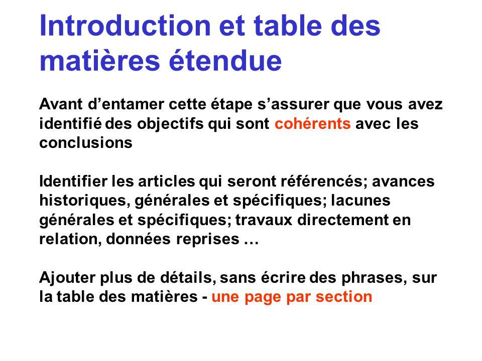 Introduction et table des matières étendue