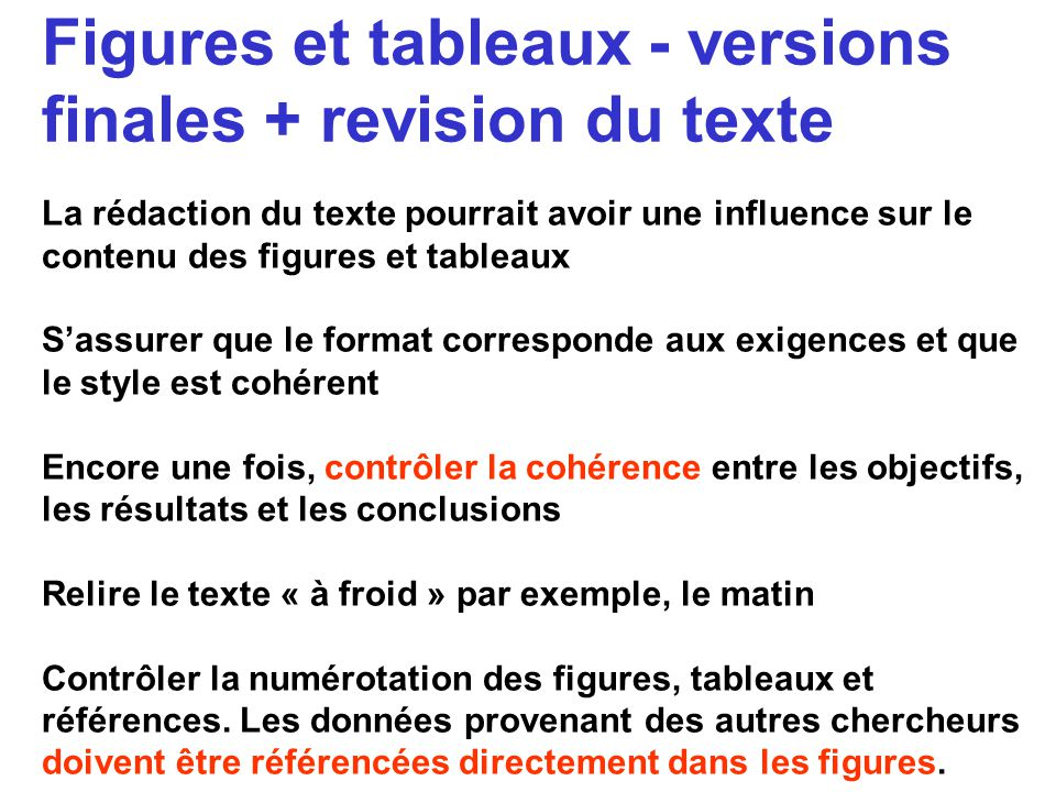 Figures et tableaux - versions finales + revision du texte