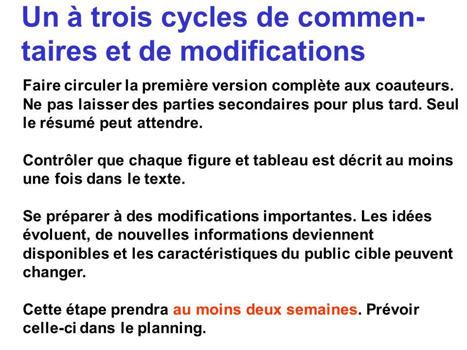 Un à trois cycles de commen-taires et de modifications