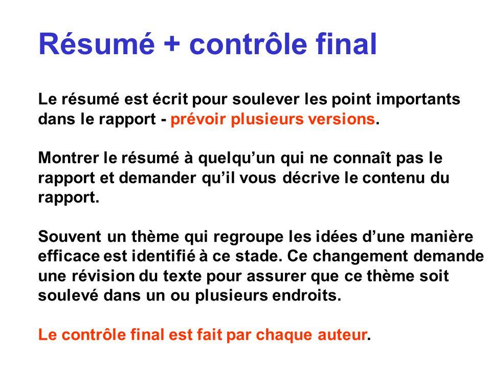 Résumé + contrôle final