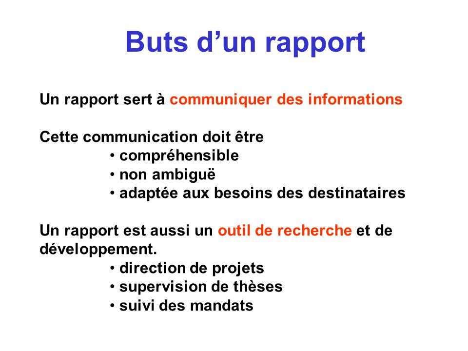 Buts d'un rapport Un rapport sert à communiquer des informations