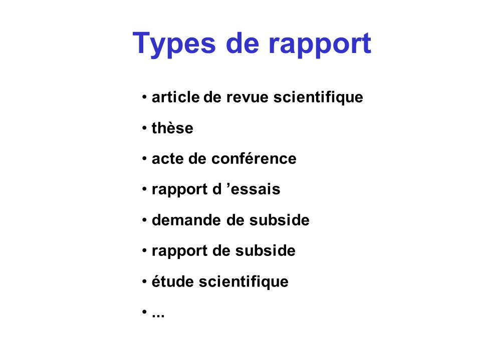 comment r u00e9diger un rapport technique - quelques indications