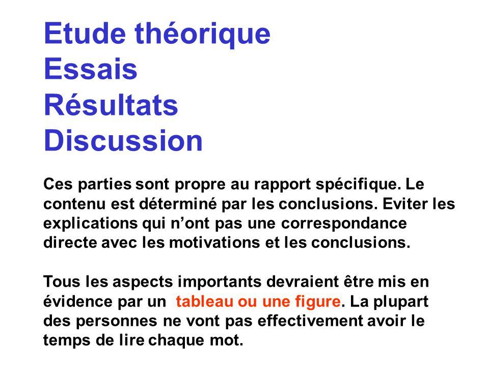 Etude théorique Essais Résultats Discussion
