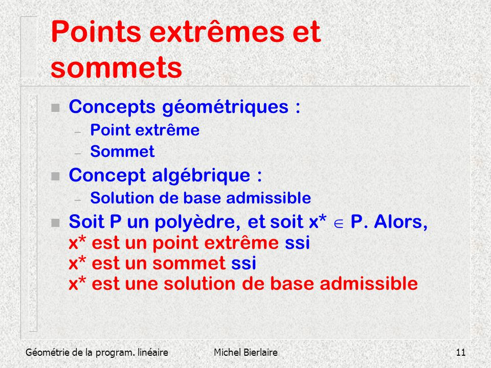 Points extrêmes et sommets