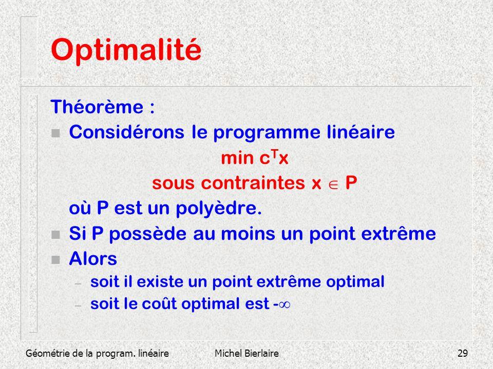 Optimalité Théorème : Considérons le programme linéaire min cTx