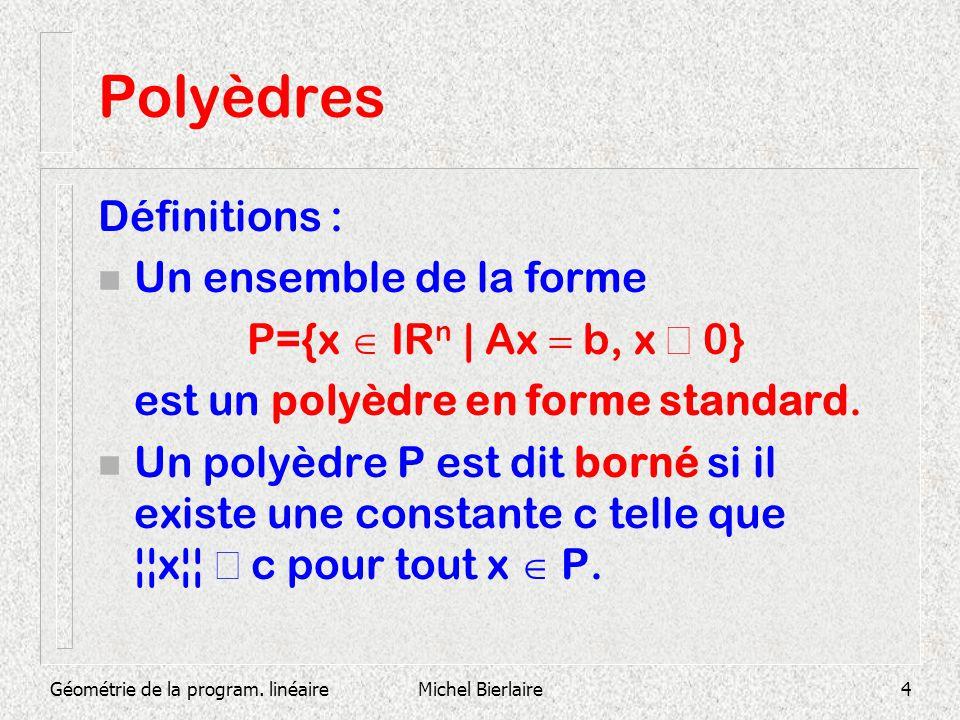 Polyèdres Définitions : Un ensemble de la forme