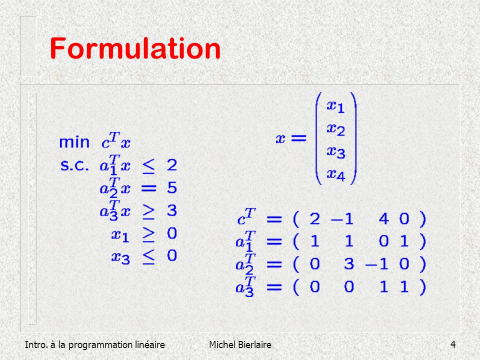 Formulation Intro. à la programmation linéaire Michel Bierlaire