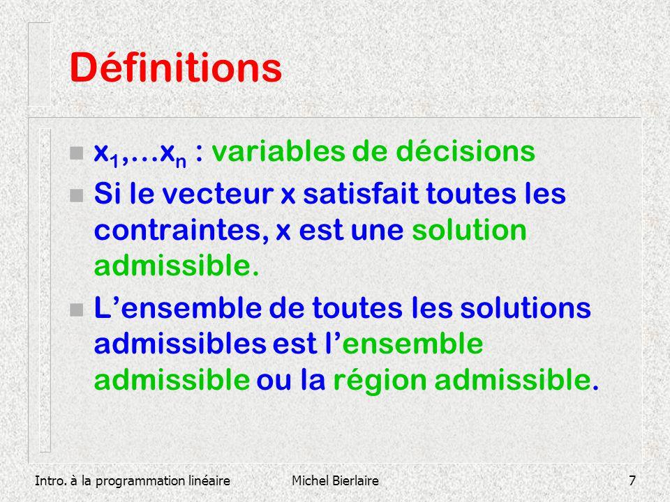 Définitions x1,…xn : variables de décisions