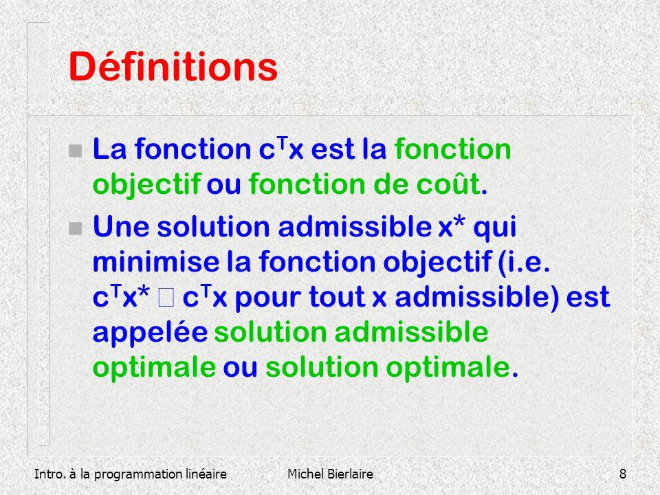Définitions La fonction cTx est la fonction objectif ou fonction de coût.
