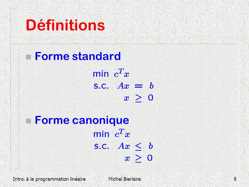 Définitions Forme standard Forme canonique