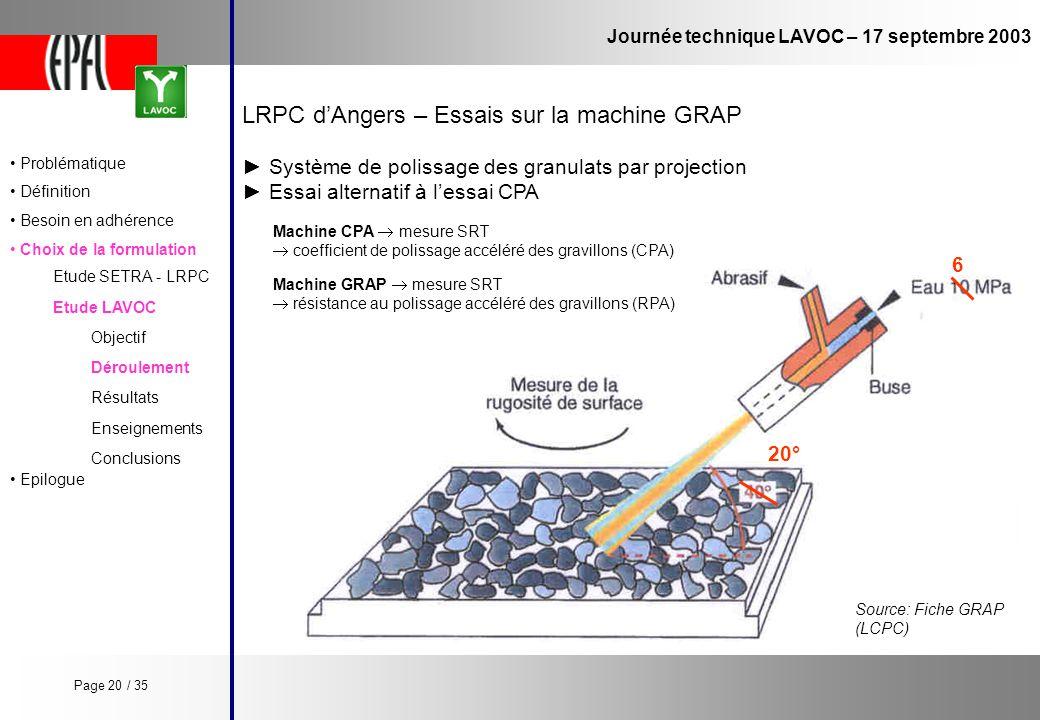 LRPC d'Angers – Essais sur la machine GRAP