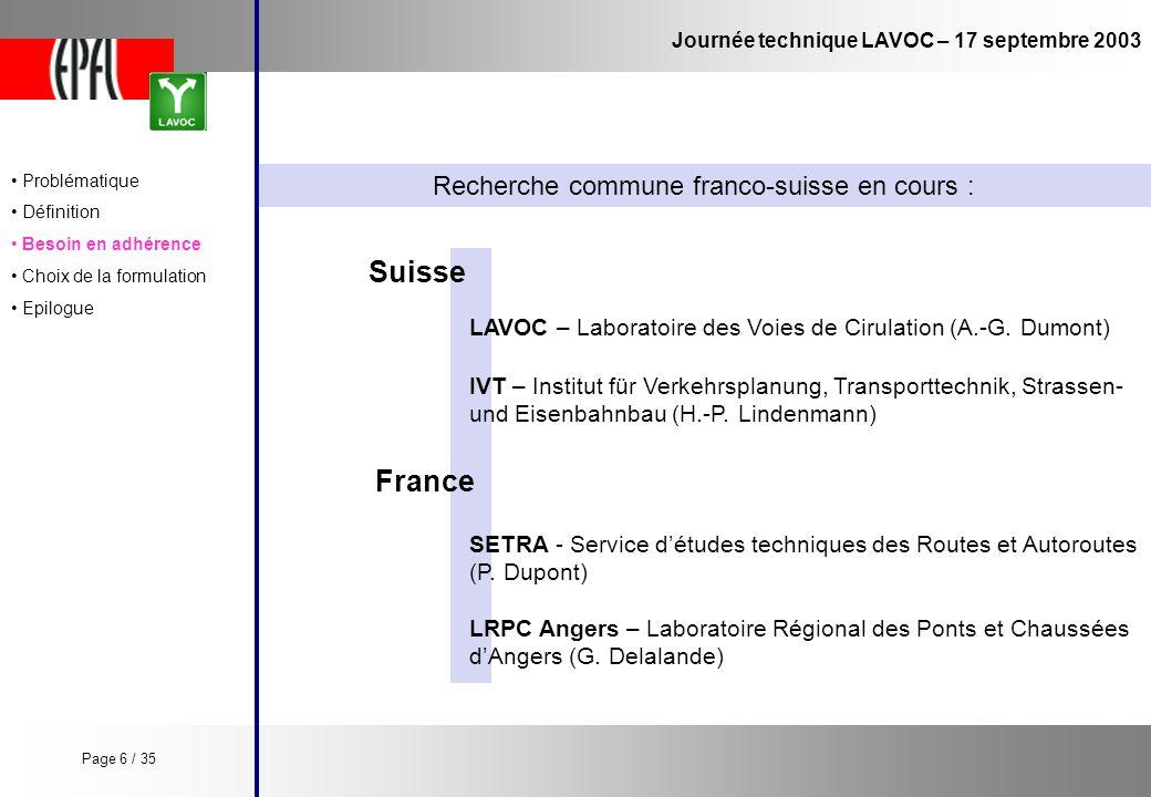 Recherche commune franco-suisse en cours :