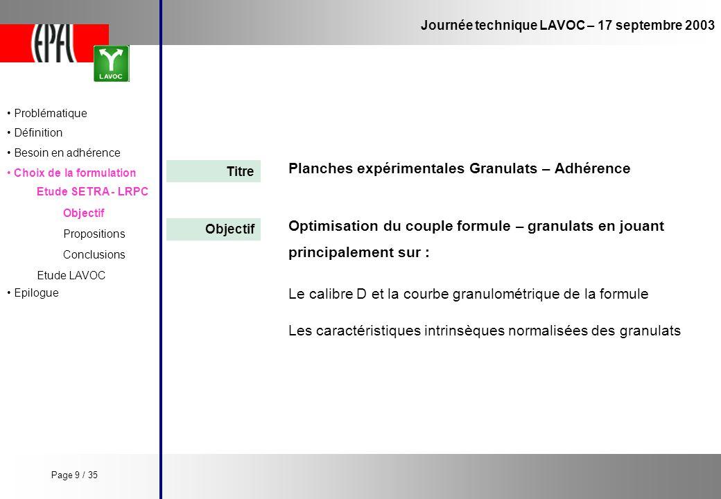 Planches expérimentales Granulats – Adhérence