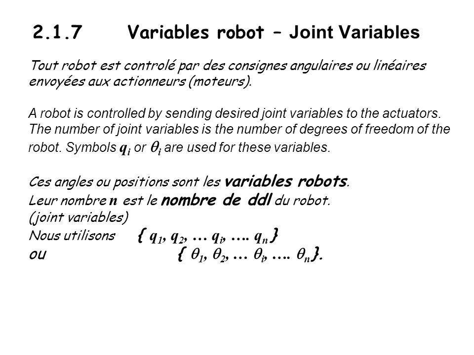 2.1.7 Variables robot – Joint Variables