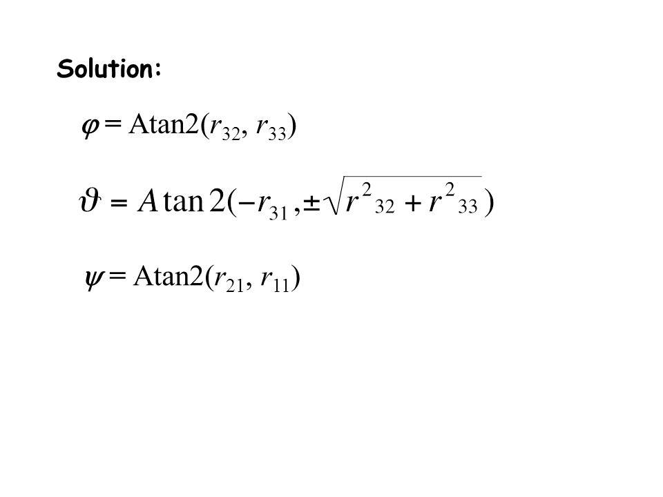 Solution: j = Atan2(r32, r33) y = Atan2(r21, r11)