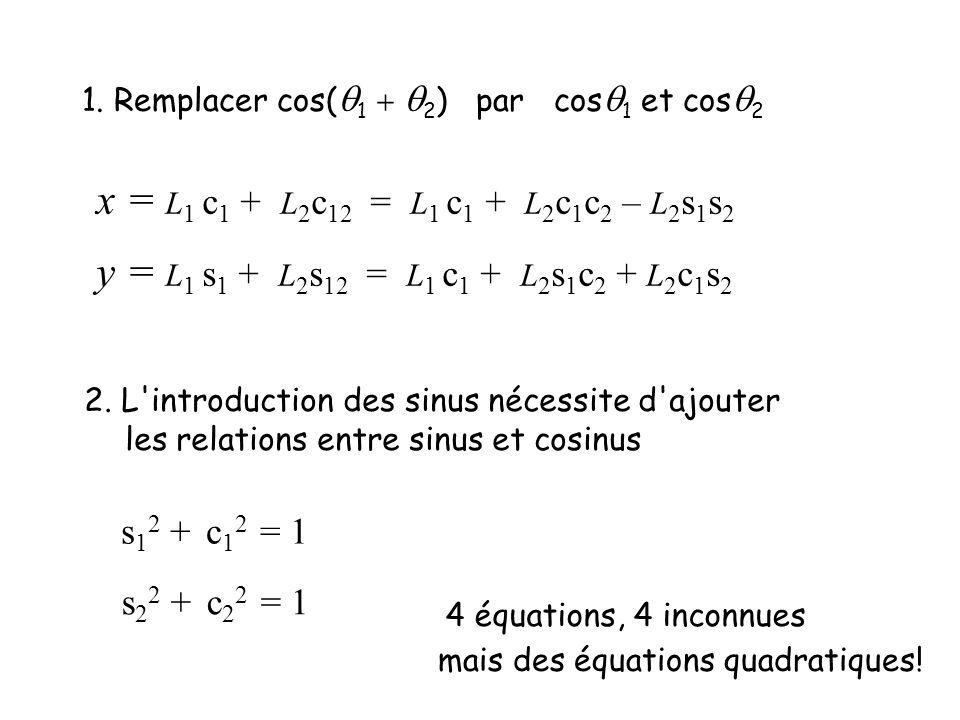 1. Remplacer cos(q1 + q2) par cosq1 et cosq2