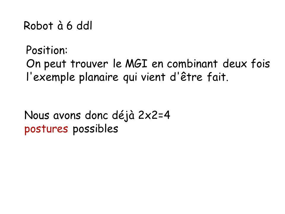 Robot à 6 ddl Position: On peut trouver le MGI en combinant deux fois. l exemple planaire qui vient d être fait.