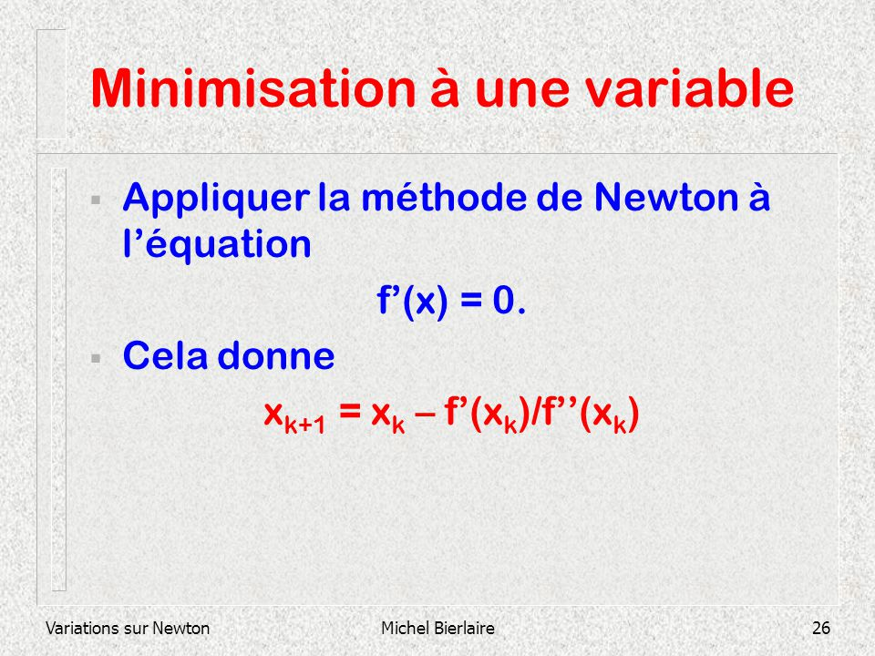 Minimisation à une variable