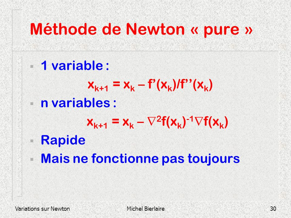 Méthode de Newton « pure »