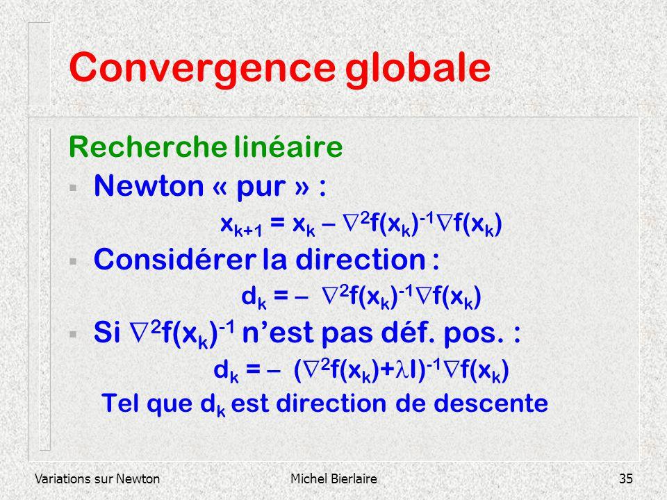 Convergence globale Recherche linéaire Newton « pur » :