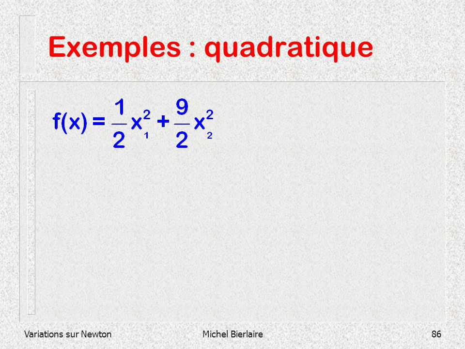 Exemples : quadratique