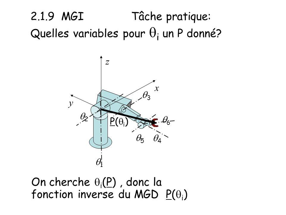 2.1.9 MGI Tâche pratique: Quelles variables pour qi un P donné