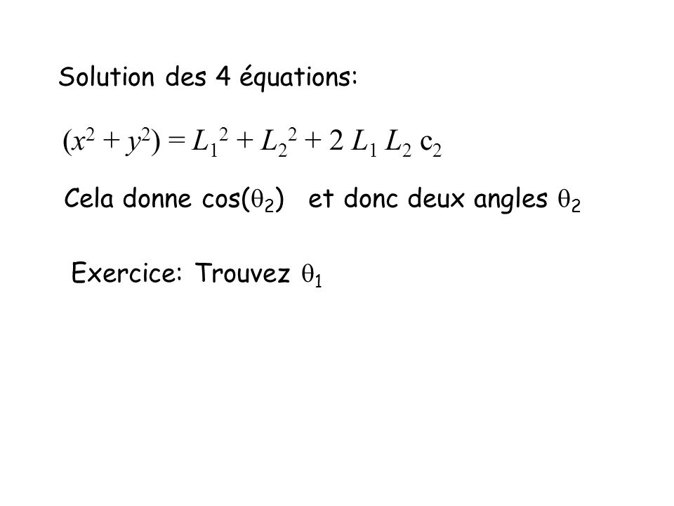 Solution des 4 équations: