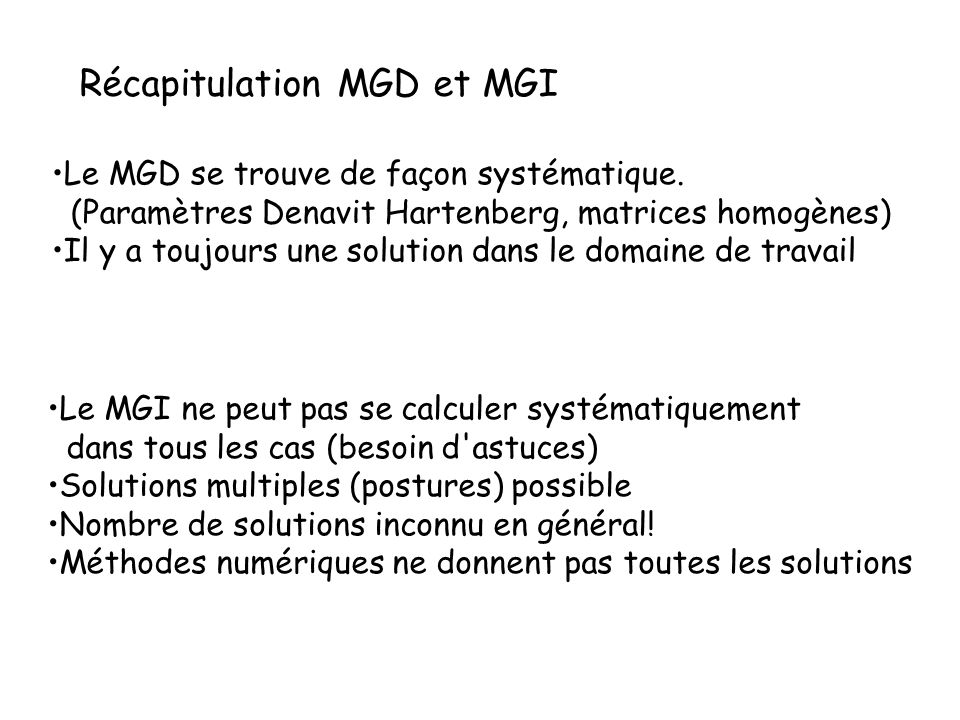 Récapitulation MGD et MGI
