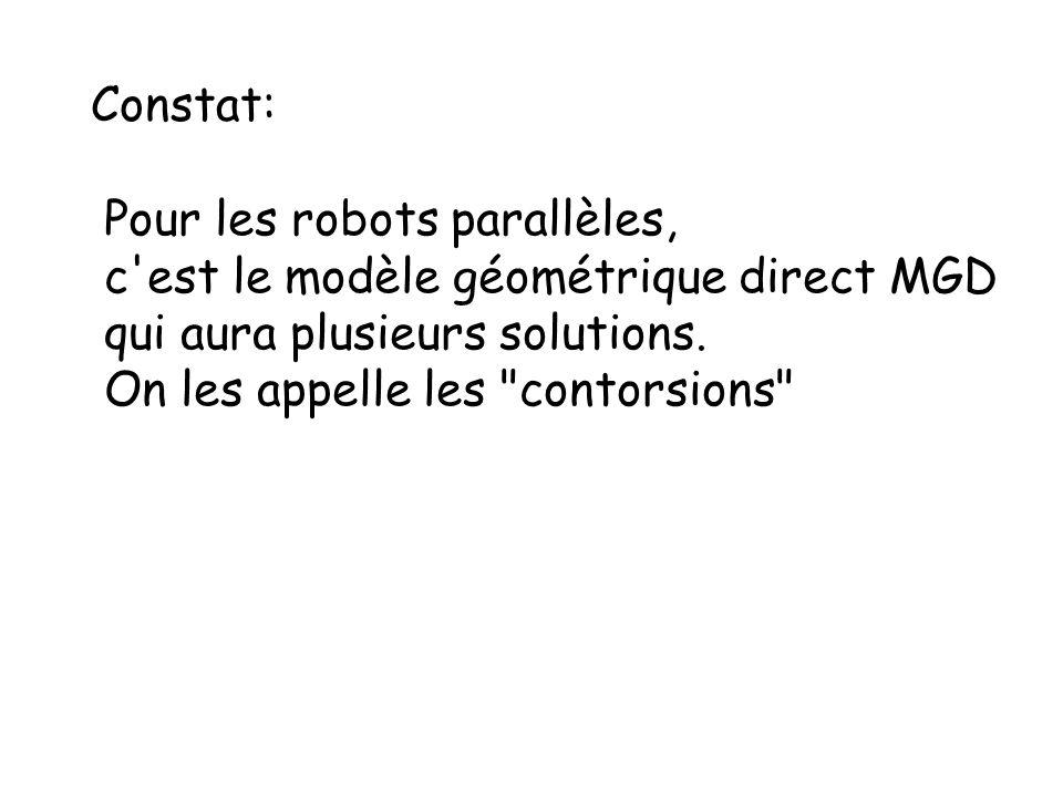 Constat: Pour les robots parallèles, c est le modèle géométrique direct MGD. qui aura plusieurs solutions.