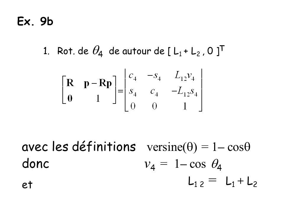 et L1 2 = L1 + L2 avec les définitions versine(q) = 1– cosq