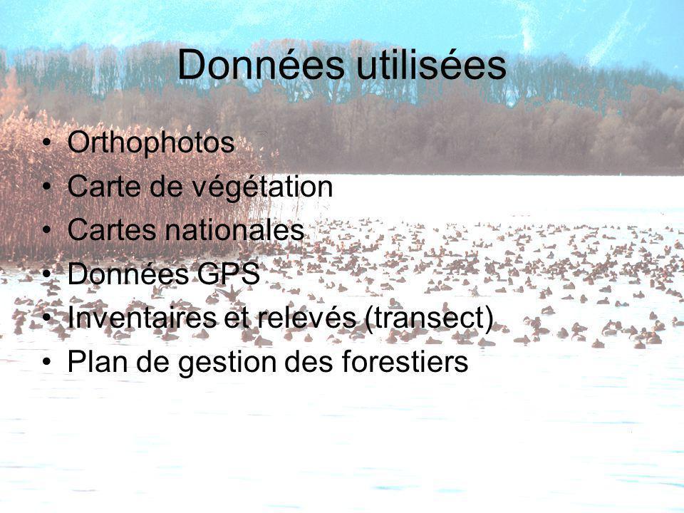 Données utilisées Orthophotos Carte de végétation Cartes nationales