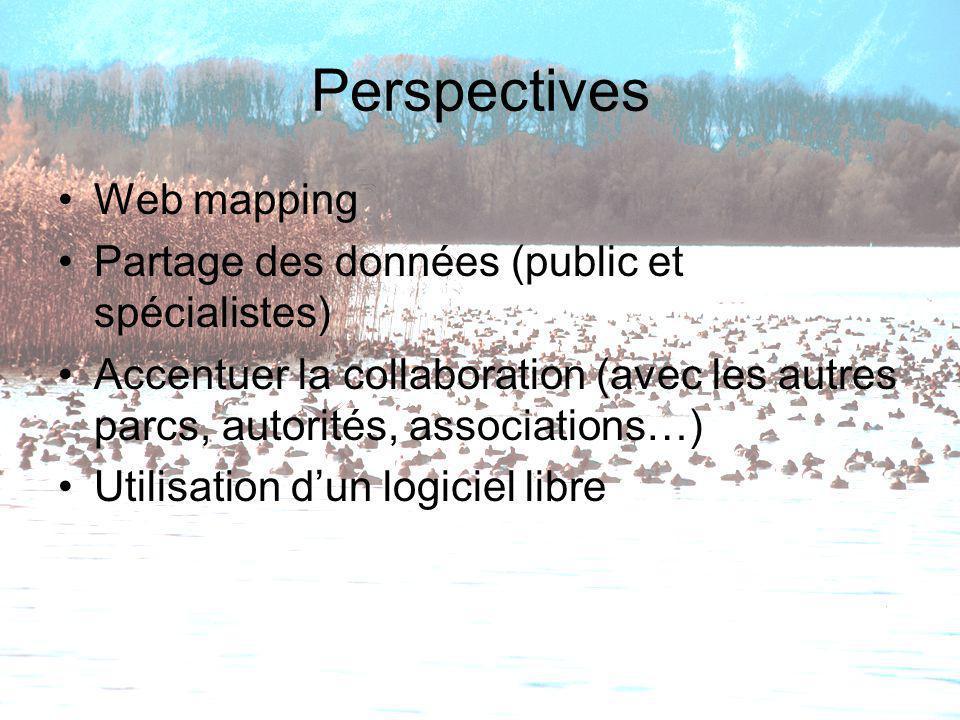 Perspectives Web mapping Partage des données (public et spécialistes)