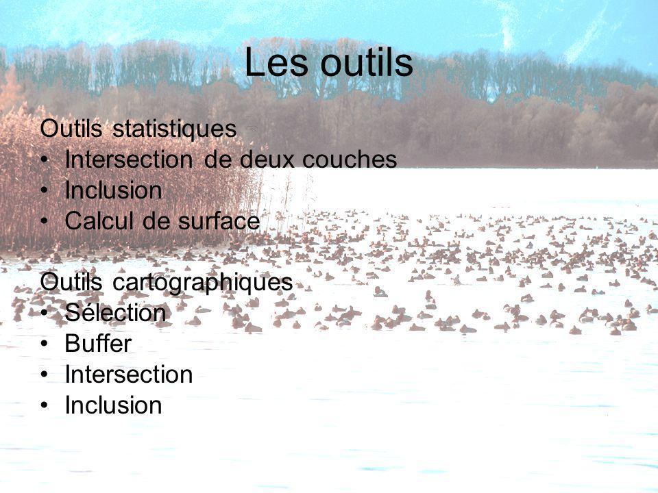 Les outils Outils statistiques Intersection de deux couches Inclusion