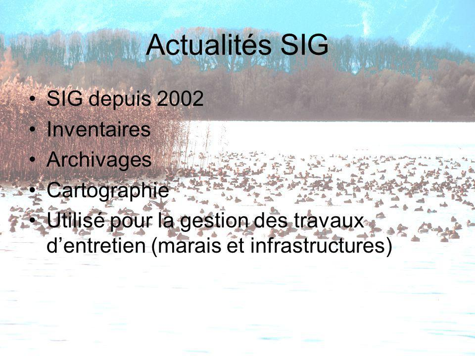 Actualités SIG SIG depuis 2002 Inventaires Archivages Cartographie