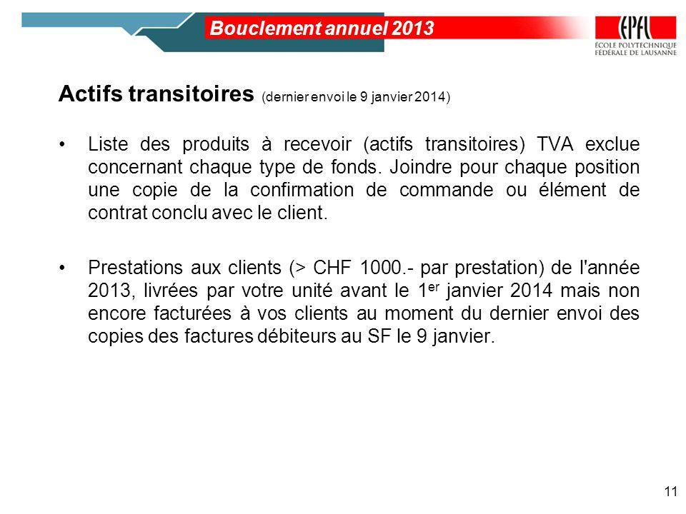 Actifs transitoires (dernier envoi le 9 janvier 2014)