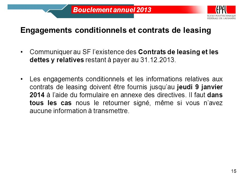 Engagements conditionnels et contrats de leasing
