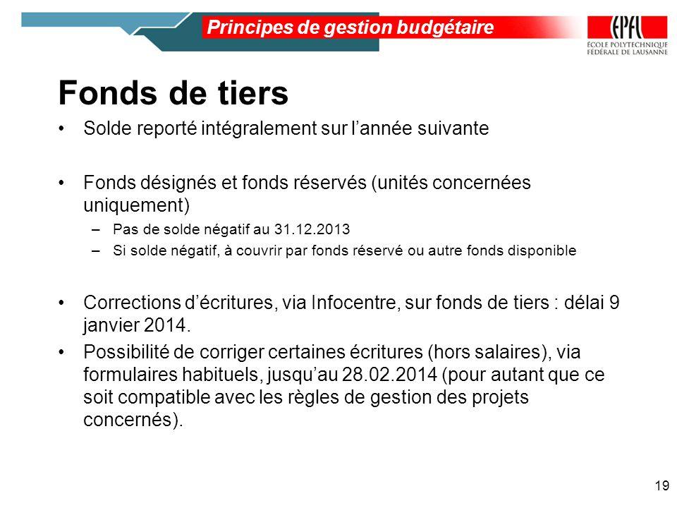Fonds de tiers Principes de gestion budgétaire