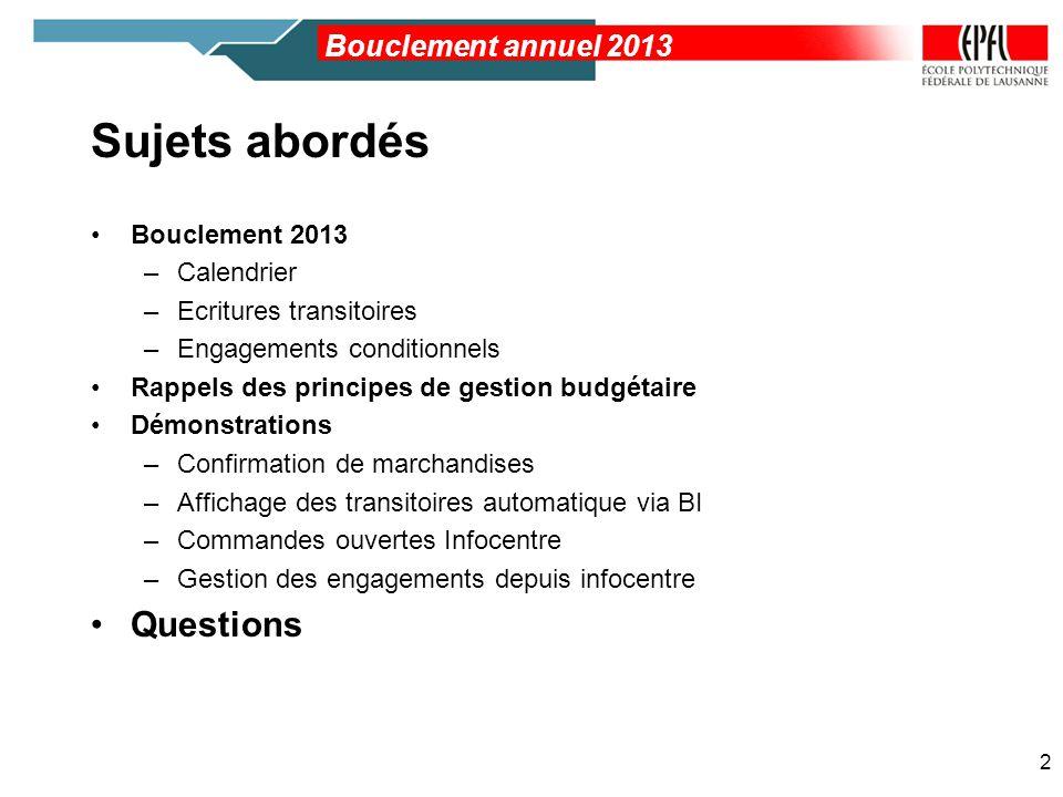 Sujets abordés Questions Bouclement annuel 2013 Bouclement 2013