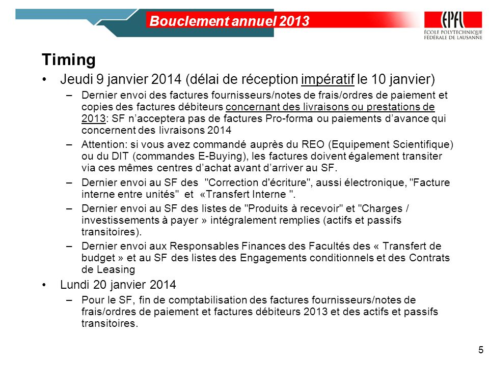 Timing Bouclement annuel 2013