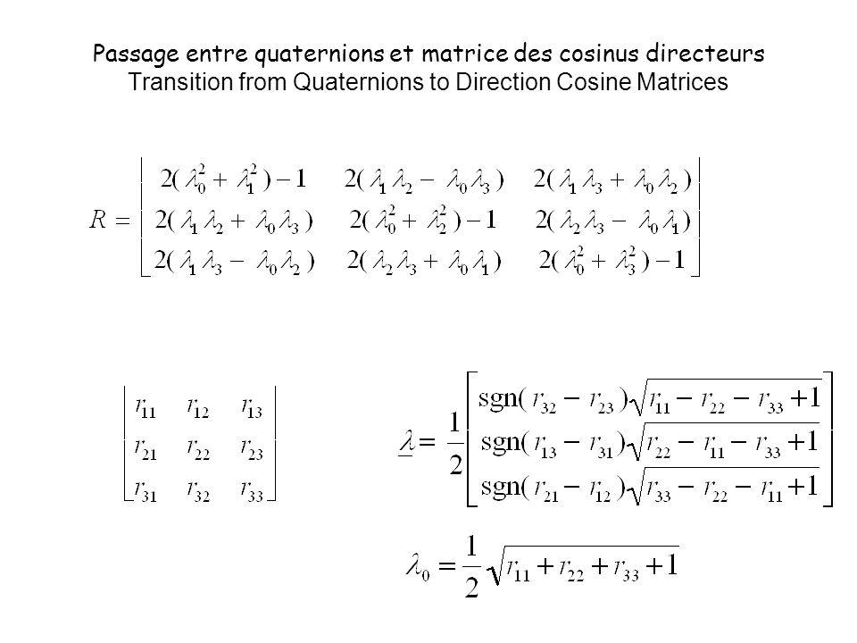 Passage entre quaternions et matrice des cosinus directeurs Transition from Quaternions to Direction Cosine Matrices
