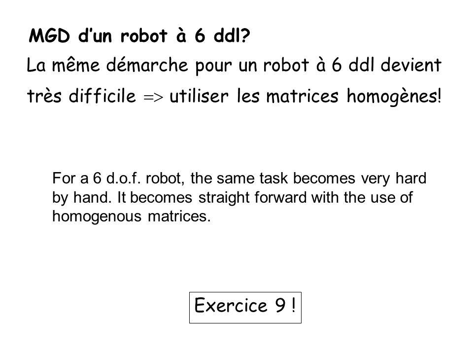 La même démarche pour un robot à 6 ddl devient