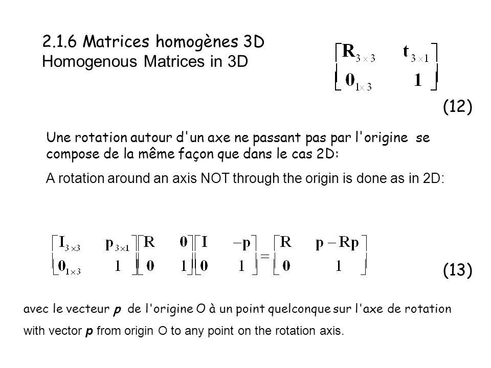 2.1.6 Matrices homogènes 3D Homogenous Matrices in 3D