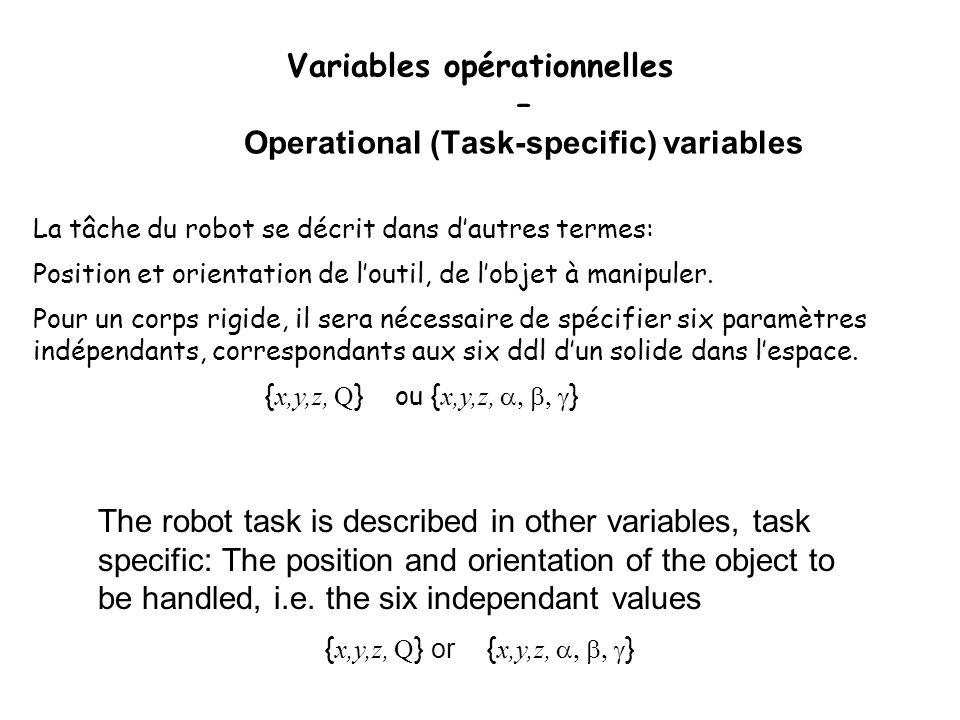 Variables opérationnelles – Operational (Task-specific) variables