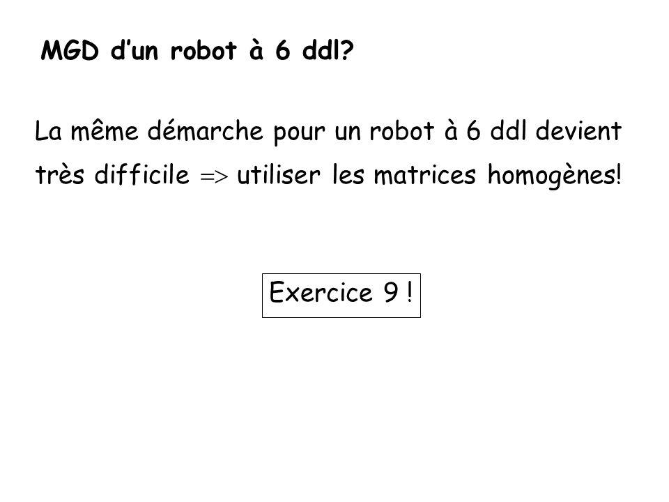 MGD d'un robot à 6 ddl La même démarche pour un robot à 6 ddl devient. très difficile => utiliser les matrices homogènes!