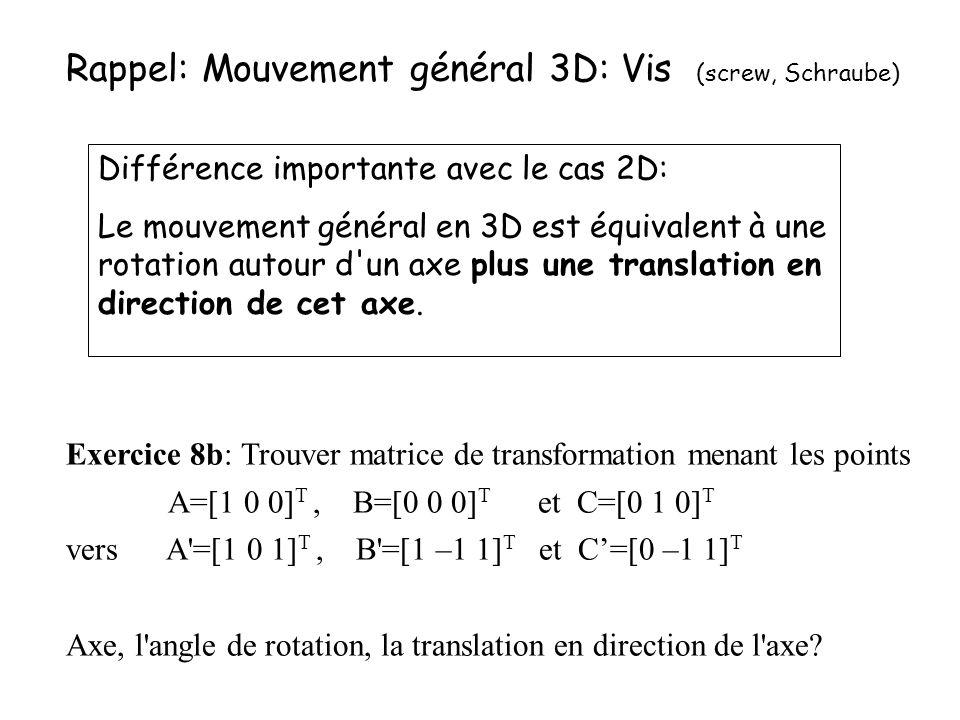 Rappel: Mouvement général 3D: Vis (screw, Schraube)