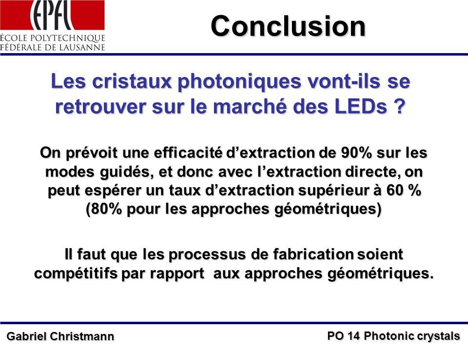 Conclusion Les cristaux photoniques vont-ils se retrouver sur le marché des LEDs