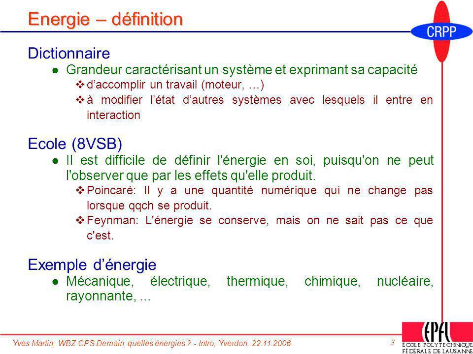 Energie – définition Dictionnaire Ecole (8VSB) Exemple d'énergie