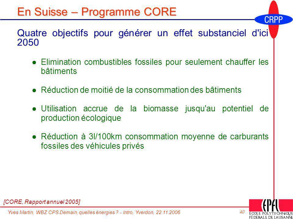 En Suisse – Programme CORE